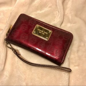 Michael Kors Maroon Leather Wristlet